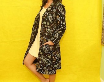 Embroidered Paisley Indian Floral Long Peacoat Medium