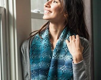 Crochet Pattern -- Diamond Lace Infinity Scarf -- Crochet Pattern