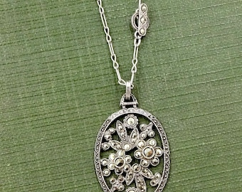 Vintage Art Deco STERLING MARCASITE NECKLACE Sterling Silver Marcasite Floral Bouquet Pendant Necklace