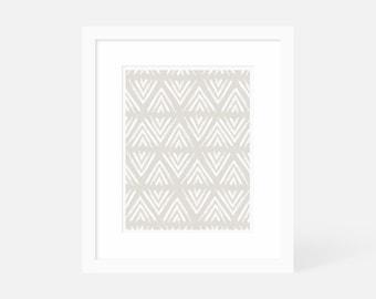 Neutral Modern Art / Minimalist Geometric Art Print / Large Vertical Wall Art / Matted and Framed / 18x24 16x20 11x14 8x10 5x7