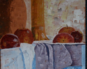 Apples on table, Apple Still Life, An Original Acrylic Painting, Impression, Canvas Board, Large Painting  Ready to Display, 16 x 12 Inches