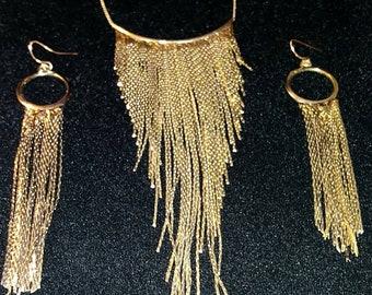 Vintage Gold Fringe Necklace and Earring Set