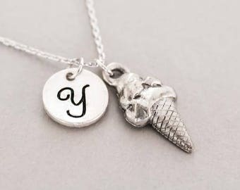 Cute miniature Ice Cream Cone necklace - friendship necklace for 2 - family jewelry - personalized infinity necklace - ice cream jewelry