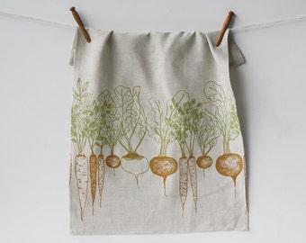Root Vegetables Linen Tea Towel. Kitchen Linens. Dish Cloth. Teatowel. Farmhouse Kitchen. Hostess Gift.