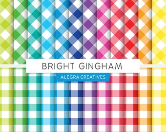 Bright Gingham digital paper, diagonal gingham, straight gingham, brights, rainbow colors, scrapbook papers (Instant Download)