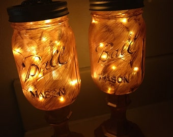 Painted Mason jars with lights, set of 2