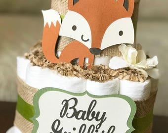 Gender Neutral Woodland Diaper Cake, Baby Shower Centerpiece, Baby Shower Decor Gift, Boy Burlap Green Floral Fox Raccoon Owl Deer,2 tier