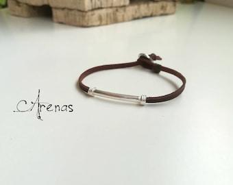 Leather Bracelet Sterling Silver - Man Bracelet - Woman Bracelet - Leather Bracelet - Gift for Him - Gift for Her - Men Bracelet - Boho