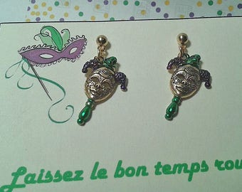 Hand Painted Mardi Gras Face Mask  Earrings.Hypoallergenic