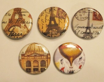 Magnets set of 5 button  mini 1 inch or 1.25 inch france magnets you choose the size