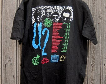 Vintage Real Rare 1993' U2 Zooropa Zoo TV European Concert Tour Shirt Tee Band Shirt Tee