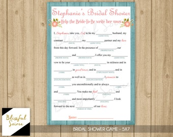Printable Brial Shower Mad Lib | Help the Bride-to-be Write Her Vows | Floral | Bridal Shower Game | Shabby Chic | Wedding Vows | BRS18