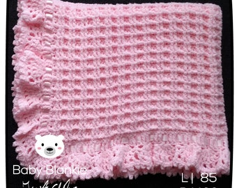 Pink Blanket of Terry cloth-85 x 100 cm-Handmade-crocheted