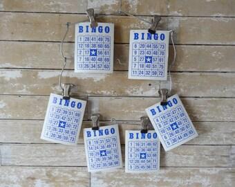 Vintage Bingo Cards Blue Cream Set of 5