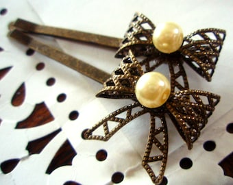 Hair Pins - Swarovski and Antiqued Brass Bow and Pearl Bobby Pins - Vintage-Style Boho-Chic Hair Accessories