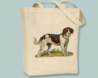 Vintage St. Bernard Dog illustration on Canvas Tote -- Selection of sizes available