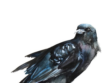 """Watercolor Crow Print 8""""x10"""", Giclee Archival Print"""