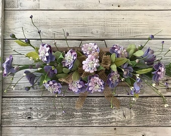 Primitive Weathered Wood and Lavender Floral Wall Arrangement