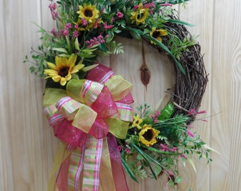 FREE SHIPPING - Grapevine Whimsical Wreath with Sunflowers, Front Door Spring/Summer Wreath, Hot Pink and Yellow, Large Ribbon Bow,