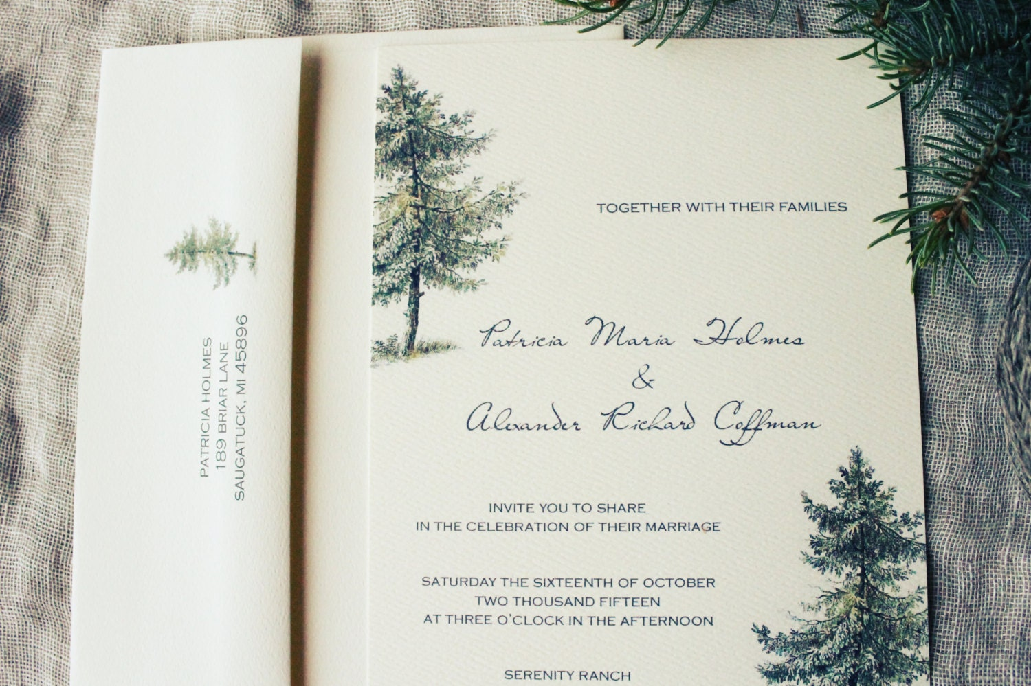 Pine Tree Wedding Invitation Set Rustic Wedding Invitation