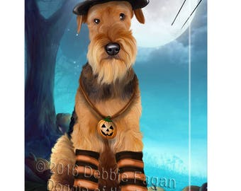 Happy Halloween Trick or Treat Airedale Dog Candy Corn Canvas Wall Art