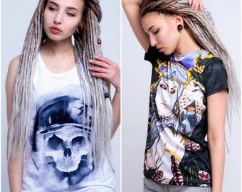 FREE shipping. light grey with a brown top ombre Synthetic dreads. x10 or FULL set. Single or Double Ended Synthetic Dreadlocks FREE beads