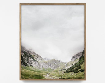 mountain print, scandinavian print, mountain art, landscape photography, wilderness art, fog print, printable wall art,  rustic nature print