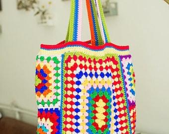 Beautiful handmade multi coloured crochet festival style bag