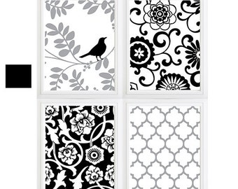 Black Grey Floral Pattern Wall Art Modern Prints Set of (4) Custom Colors Sizes Available - see color variations! Bird on Tree Flower Burst