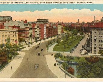 Vintage Postcard, Boston, Massachusetts, Commonwealth Ave from Charlesgate, ca 1920