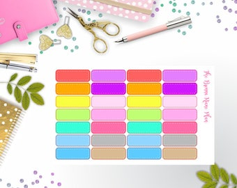 Stitched Quarter Boxes | Planner Stickers