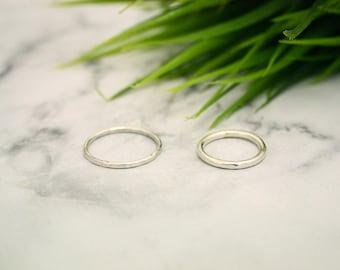 Minimal Hammered Silver Stacking Ring Set