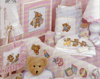 Playtime Nursery Counted Cross Stitch Baby Bears And Toys Pattern Book