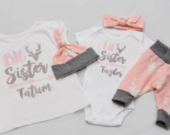 Big Sister Little Sister Deer, Newborn Coming Home Outfit, coming home outfit-Jersey knit Leggings, Knot Hat, and Bodysuit