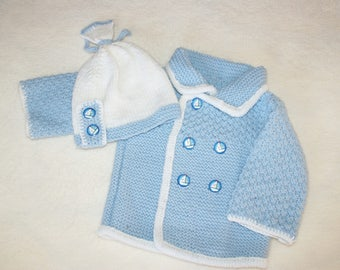 KNIT BABY HAT AND COAT