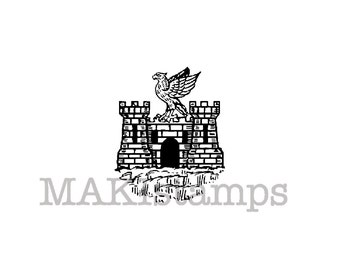 Rubber stamp with a medieval Castle with eagle stamp / Heraldry rubber stamp (150717)