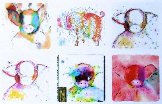 Mini Piggy Wiggies - Fine Art Stickers