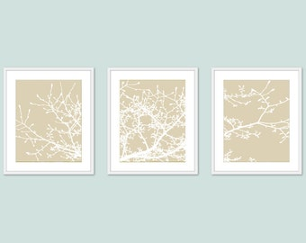 Magnolia Tree Branches Art Prints - Set of 3 - Modern Tree Art - Tree Wall Art - Set of 3  prints - 5x7 or 8x10 - Frames not included