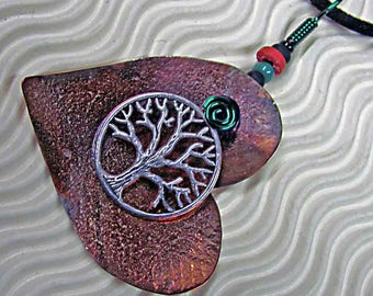 Love the Trees! Pendant in copper with pewter charm,  handmade, on cord.
