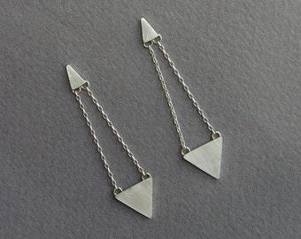 Dangle Triangle Earrings - Geometric - Sterling Silver Post Earrings