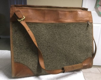 Hartmann Carry On Luggage Shoulder Strap brown Tweed Leather