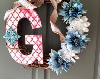 Custom letter G wreath.