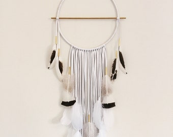 "Harvest Moon Modern White Leather Dream Catcher 12"" x 36"". Handmade. Wall hanging. Boho"