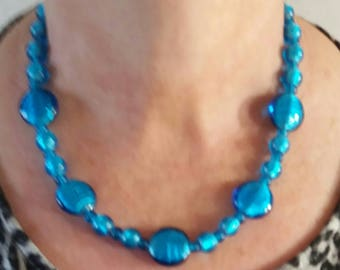 Ladies beaded necklace bright blue glass beads ladies necklace gift