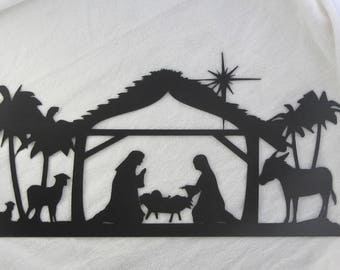 Nativity Barn Scene with North Star