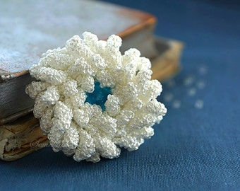 White and blue crochet flower brooch,  accessory