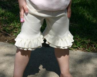 cream off-white knit double ruffle shorts shorties sizes 18m - 14 girls