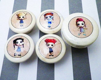 "Chibi Kawaii Anime Furniture Knobs for Girls.  In 1.25 or 1.5"" Size."