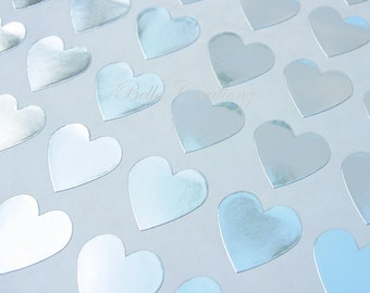 Silver Heart Stickers - Envelope Seals