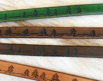 Leather bracelet with tree landscape